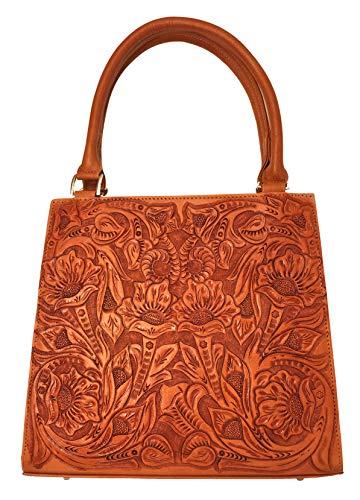 Helena Vintage Floral Artisan Leather Handmade Shoulder Handbag Designer Gift for Women (Natural)