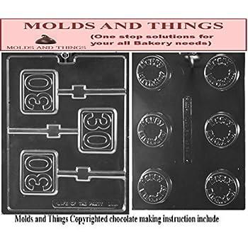Amazon.com: cybrtrayd L015 30th Lolly Chocolate Candy Mold ...