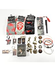 Twilight Fan Ultimate Gift Package Includes Socks, Buttons, Keychains, Bookmark, Pen, Jelly Bracelets, Bandages, Bag Clips, and Dog Tags