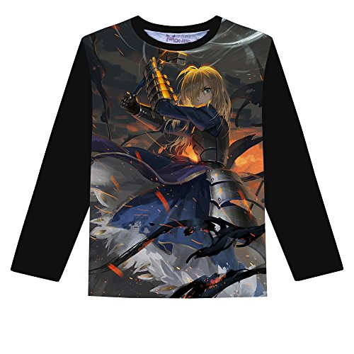 00bcf1d92f Rain s Pan Anime Fate Stay Night Saber Cosplay Long Sleeve T-Shirt Casual  Tops Outfits