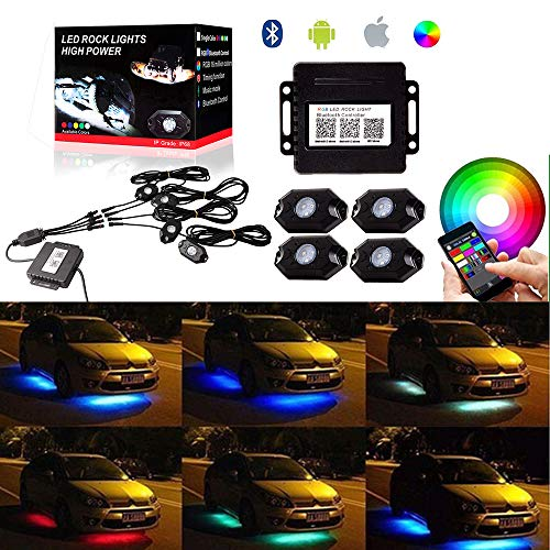 OCPTY 4 Pods RGB LED Rock Lights Kits Waterproof Offroad Rock Lights App Bluetooth Control with Timing Music Mode Neon Lights Kits Replacement fit for Cars Trucks SUV Jeep
