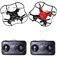 Contixo Mini Pocket Drone 4CH 6 Axis Gyro RC Micro Quadcopter Racing Set, Intelligent Fixed Altitude, 3D Flip (Hover Mode) (Red and Black)