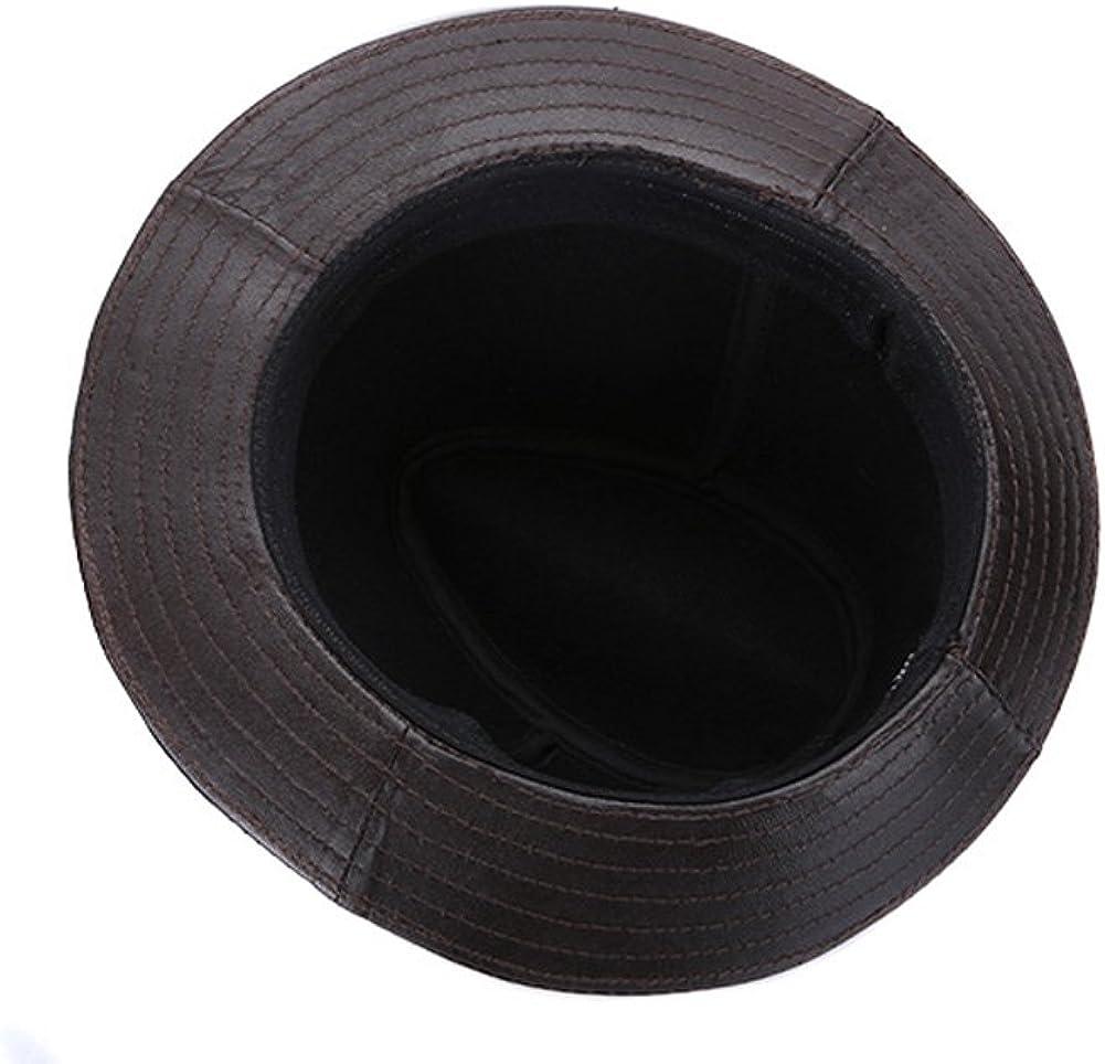 Black Suede seemehappy Mens Genuine Leather Hat Sheepskin Fedora Hat Safari Hat