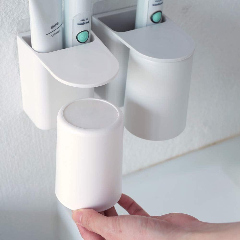 Wandmontierter Zahnpasta Caddy und Elektrischer Zahnb/ürstenst/änder mit Magnetischem Becher Grau, 7.8x12x10 cm Zahnb/ürstenhalter Aufbewahrungs- und Organisationsset f/ür das Badezimmer