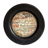 CVHOMEDECO. Primitive Vintage Fall Decorative Wood Plate Festival Display Wooden Plate Home Décor Art, 11-1/4'' Dia.