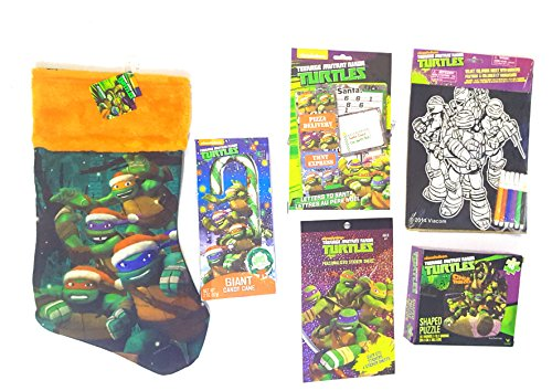 Teenaged Mutant Ninja Turtles Stocking Stuffer Bundle of 6 Items- Stocking, Coloring Page, Puzzle, Candy Cane, Wish List, and Sticker (Teenage Costumes Ideas)
