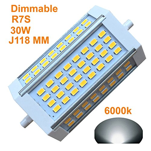 8mm Dimmable Bulb 30W Day Light 6000k AC120V 3000LM Double Ended J LED Floodlight For R7S 200W 300w 400w Halogen Replacement (6000k daylight) ()