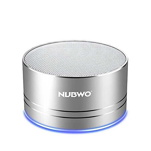 Portable Bluetooth Speakers,NUBWO Wireless Mini Speakers,Richer Sound and Bass,TF Crad Slot,3.5mm AUX,Build-in Microphone for Iphone/Andriod/Tablet (Silver)