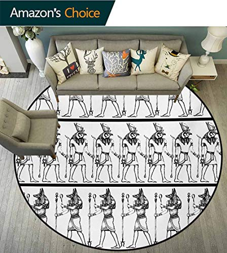 RUGSMAT Egyptian Art Deco Pattern Non-Slip Backing Washable Round Area Rug,Hieroglyphics with Anubis Traditional Cultural Figure Mummy After Life Art Print Foam Mat Bedroom Decor,Diameter-71 Inch