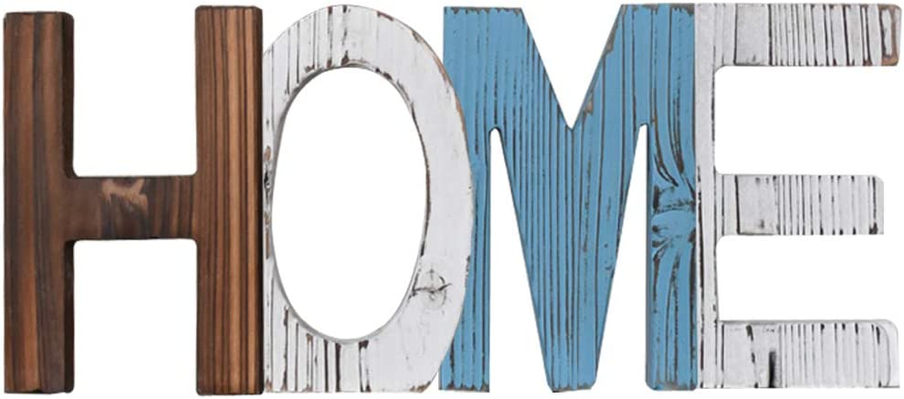 Home Rustic Decorative Letter Sign, Multi Colored Wood Cutout Block, Freestanding, Family Signs Decor