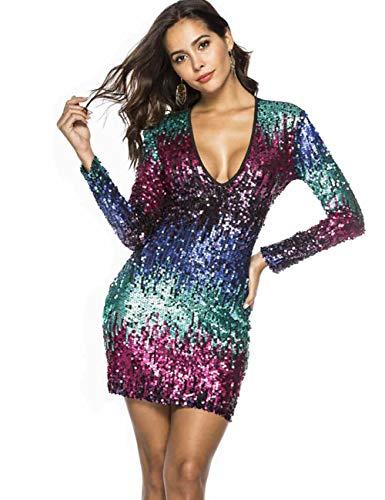 (MARI CIAS V Neck Short Sequin Dresses for Women Long Sleeve (S, Blue1))