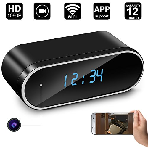 WiFi Spy Hidden Camera Clock,DigiHero Clock Camera,Security Camera,Nanny Cam,Motion Activated on iOS/Android Smartphones/Tablets (Support