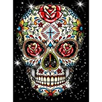 DIY Crystal Craft Full Drill Cross Stitch Decoration Kaliosy 5D Diamond Painting The Pink Skull by Number Kits Paint with Diamonds Art for Adults 12X16inch