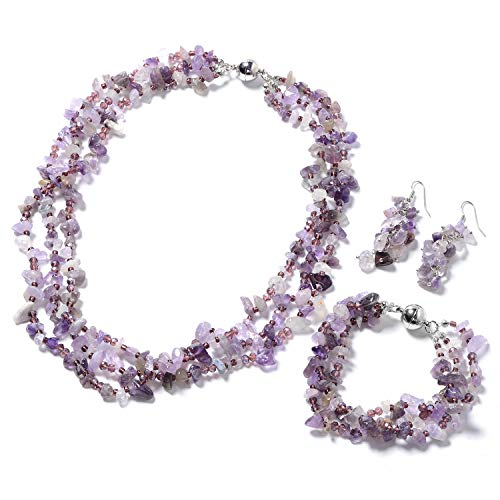 "Silvertone Stainless Steel Amethyst Purple Glass Bracelet 8"" Earrings Necklace 20"" Set for Women"