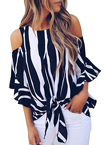 (FARYSAYS Women's Striped 3/4 Bell Sleeve Cold Shoulder Front Tie Knot T Shirt Tops Blouse Black Medium )