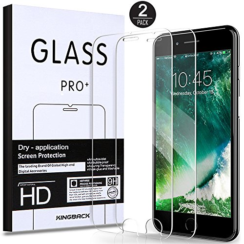 iPhone 8, 7, 6S, 6 Screen Protector, KINGBACK [Easy Installation 2-Pack] Tempered Glass Screen Protector for Apple iPhone 8, iPhone 7, iPhone 6S,6 Compatible 3D Touch and most Cases [4.7
