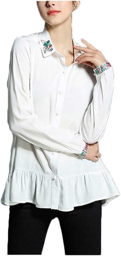 Ju-sheng Camisa de Manga Larga Casual Bordada Solapa Camisa Blanca con Volantes (Color : White, Size : M): Amazon.es: Deportes y aire libre