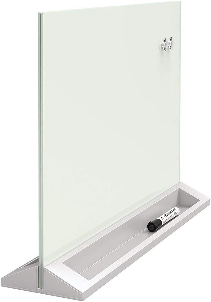 "Quartet Glass Whiteboard Desktop Panel, Magnetic, 17"" x 23"", White Dry Erase Surface (GDP1723W)"