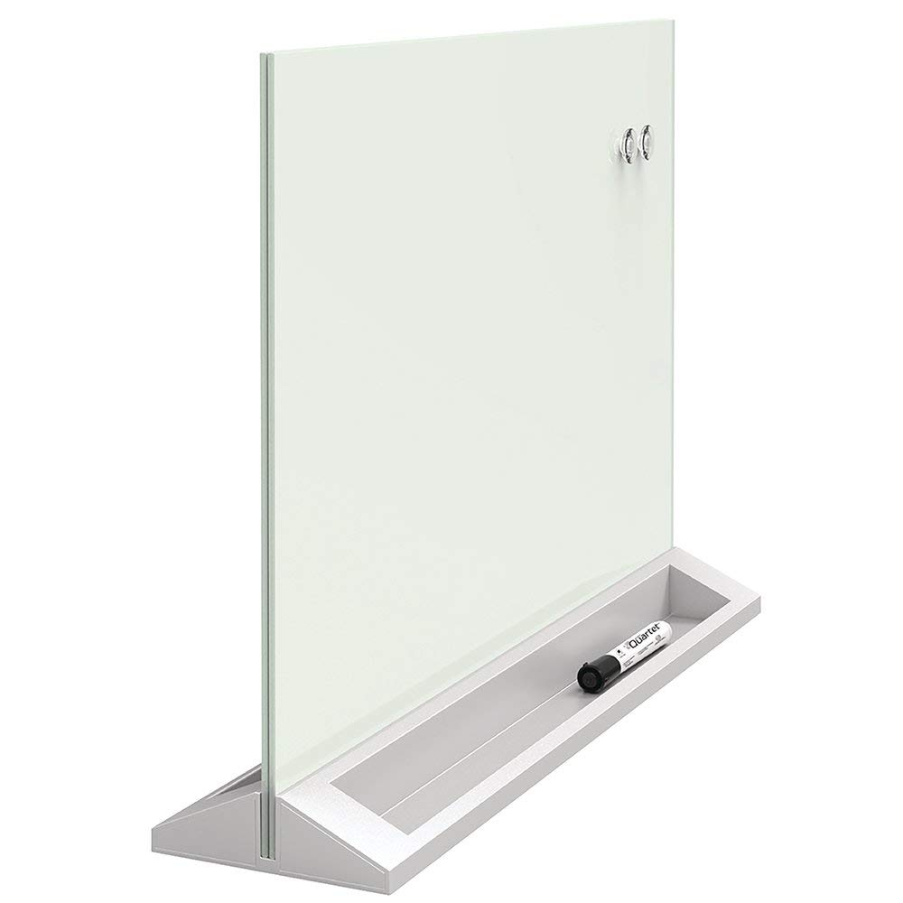Quartet Glass Whiteboard Desktop Panel, Magnetic, 17'' x 23'', White Dry Erase Surface (GDP1723W)