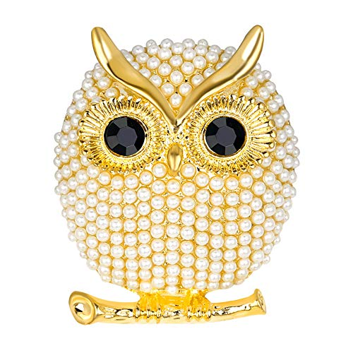 - Stylebar Branch Good Luck Owl Brooch Pins Bird Retro Broaches for Women Girls Animal Brooches Simulated Pearl Black Crystal Night Eye Gold Tone