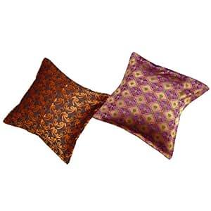 """Cojín Decorativo Multicolor Brocade cubierta hecha a mano muchos de 2 Funda de almohada pulgadas Art India Regalo 24 """""""