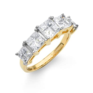 79dfa825e Jewelco London Ladies Solid 9ct Yellow Gold White Square Cubic Zirconia  Illusion Princess Cut Eternity Ring: Amazon.co.uk: Jewellery
