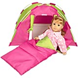 Dress Along Dolly Doll Tent w Sleeping Bag American Girl other 18 inches dolls - 23 x 15 x 14 in
