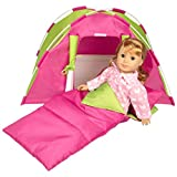 Dress Along Dolly Doll Tent w Sleeping Bag for American Girl and other 18 inches dolls - 23 x 15 x 14 in