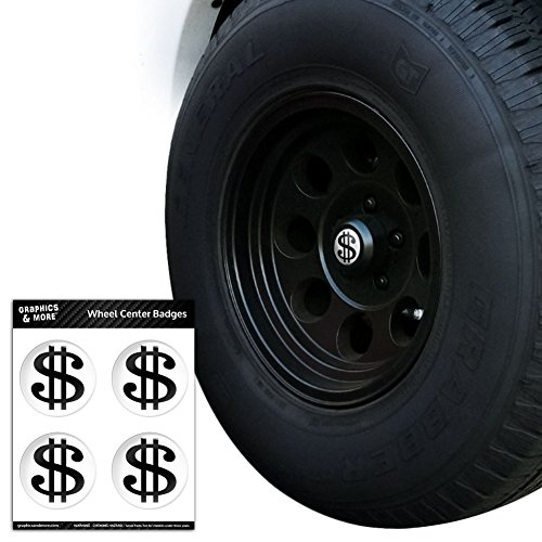 Dollar Sign White and Black Tire Wheel Center Cap Resin-Topped Badges Stickers - 2.0