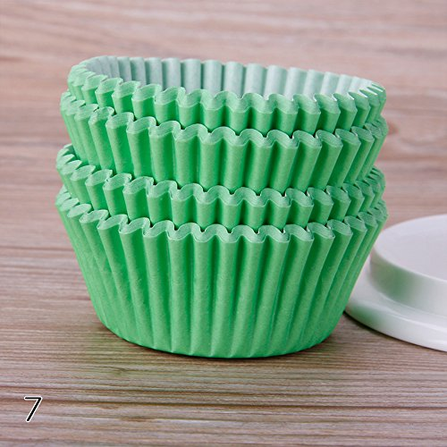 FANMURAN 100Pcs Baking Cup/Cupcake Paper/Cupcake Liners Solid Color Case Wedding Wrapper Muffin Cupcake Liners, Grass Green (Cupcake Wrappers Grass)