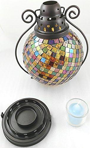 1a PartyLite P9238 Lanterne en Verre mosa/ïque en m/étal