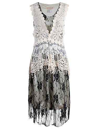 Anna-Kaci Womens Vintage Lace Gatsby 1920s Cocktail Dress with Crochet Vest, Black, Small/Medium ()