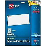 Avery Easy Peel Return Address Labels for Inkjet Printers, 0.5 x 1.75 Inches, White, Pack of 2000  (8167)