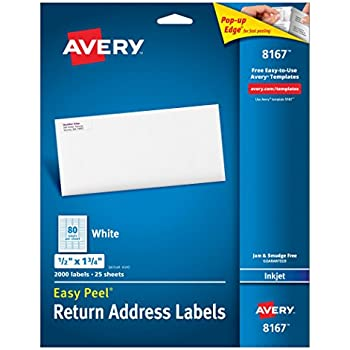 Amazon.Com: Avery Easy Peel Address Labels For Inkjet Printers 1