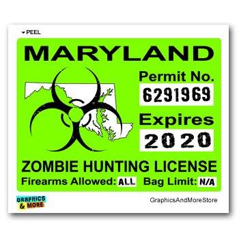 Bumper Locker - Amazon License Hunting Zombie Team Green Window Biohazard com Sticker Maryland Response Automotive Permit Md