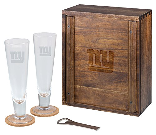 PICNIC TIME NFL New York Giants Acacia Wood Pilsner Beer Glass Gift Set for - Giants Beer New York