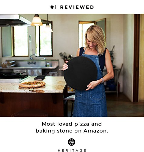 Heritage Black Ceramic Pizza Stone and Pizza Cutter Wheel - Baking Stones for Oven, Grill & BBQ - Non Stain by Heritage Products (Image #6)
