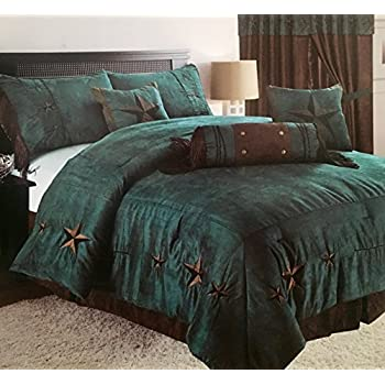 Image of Embroidery Printed Texas Star Western Star Luxury Comforter Suede - 7 Pieces Set (OverSized Queen, Rustic Turquoise) Home and Kitchen