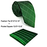 Shlax&Wing Classic Dark Green Unique Checkes Mens Neckties Silk Tie Skinny Extra Long Business