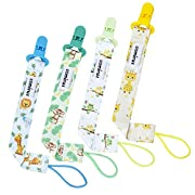 Pacifier Clip - 4 Pack Unisex Baby Soothie Pacifier/Teething Ring Toys Holder - Stylish Animals Pacifier Leash Designs for Boys and Girls Gift Set by CAMIRUS