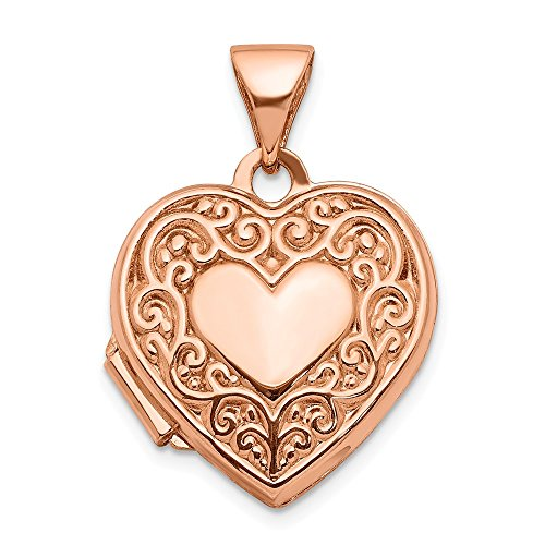 14k Rose Gold 15mm Scroll Heart Photo Pendant Charm Locket Chain Necklace That Holds Pictures Fine Jewelry Gifts For Women For Her