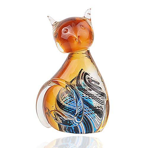 Hophen Murano Art Glass Blown Handmade Cat Animal Figurine Sculpture Home Decor Collectible Statue Paper Weight Gift Ornament (Amber)