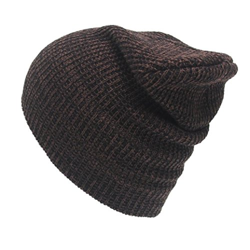 Goddessvan Mens Winter Warm Knitting Hats Wool Baggy Slouchy Beanie Hat Skull Cap (Coffee) (Case Beanie Visor)