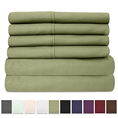 6 Piece 1500 Thread Count Egyptian Quality Deep Pocket Bed Sheet Set - 2 EXTRA PILLOW CASES, GREAT VALUE - King, Sage