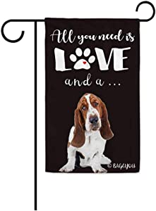 BAGEYOU All You Need is Love and a Dog Basset Hound Decorative Garden Flag for Outside Cute Puppy Paws Black Background 12.5X18 Inch Printed Double Sided