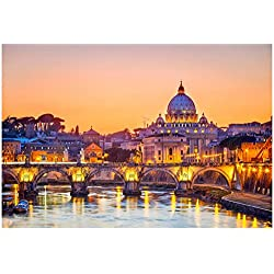 Night View At St. Peter's Cathedral In Rome, Italy Poster by sborisov 19 x 13in