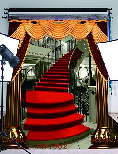 5x7FT Red Carpet Stairs Photography Backdrop Customized Photo Background Studio Prop RM-002 (Homemade Halloween Photo Backdrops)