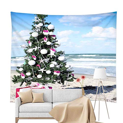 POPPAP Christmas Tree Scene Wall Tapestry Room Decor, Digital Print Hanging Blanket Beach Towel Christmas Party Scene Setter Wall Decoration Blanket(71