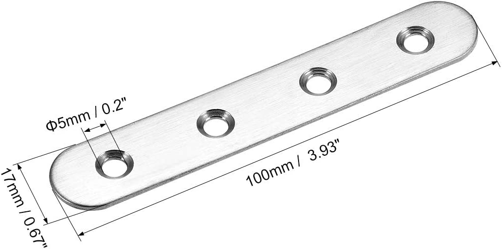 Flat Fixing Mending Bracket Connector with Screws 100mm x 17mm uxcell Repair Plate 4 Pcs