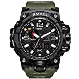SMAEL Men's Analog Digtal Sport Watch Dual Quartz Movement Military Time Water Resistant with Backlight